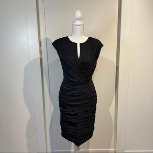 Tadashi shoji black ruched cocktail dress